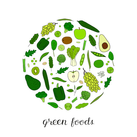 Hand drawn green fruits and vegetables in circle shape. Pistachio, broccoli, apple, cucumber, grape, lime, edamame, artichoke, arugula, kiwi, avocado, kale, pepper, spinach.