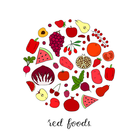 Hand drawn red fruits, berries and vegetables in circle shape. Apple, tomato, strawberry, beet, cherry, watermelon, potato, grapefruit, goji, raspberry, pear, radish, grape.