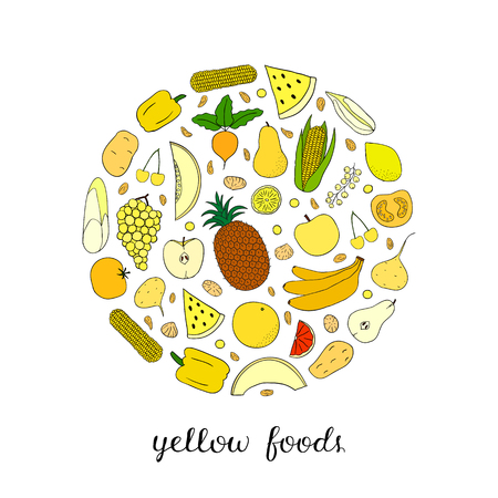 Hand drawn yellow fruits, berries and vegetables in circle shape. Lemon, pepper, raisin, melon, pineapple, cherry, grape, tomato, dried fig, banana, pear, beet, currant, corn.
