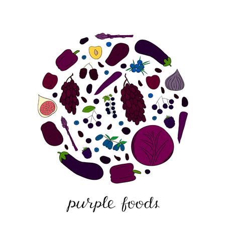 Hand drawn purple and blue foods in circle.