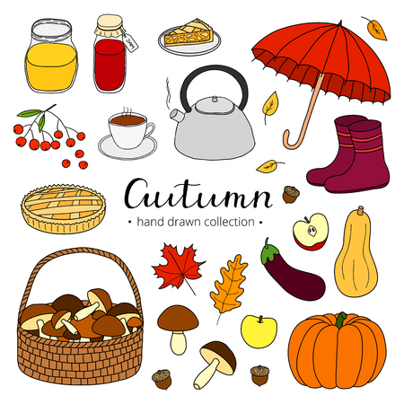 Collection of hand drawn autumn items isolated on white background with lettering.