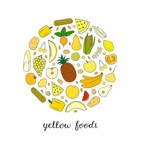 Hand drawn yellow foods in circle.