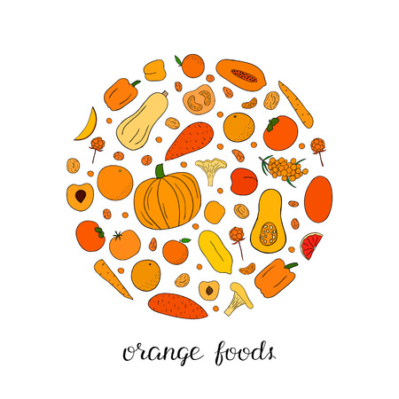 Hand drawn orange fruits, berries and vegetables in circle shape.