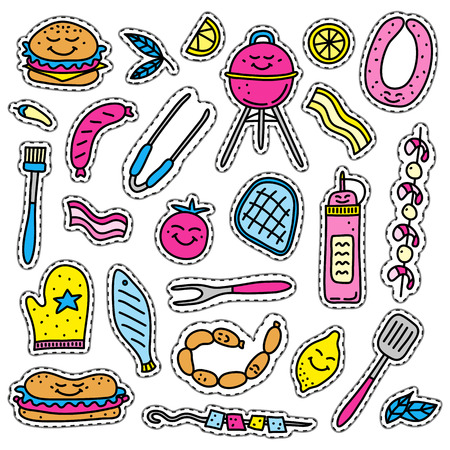 Cute doodle stickers with colored barbecue foods isolated on white background.