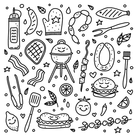 Cute doodle set of outline barbecue icons isolated on white background.