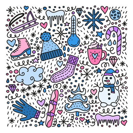Cute doodle colored winter icons isolated on white background.