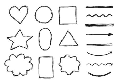 Set of doodle sketched frames, elements.