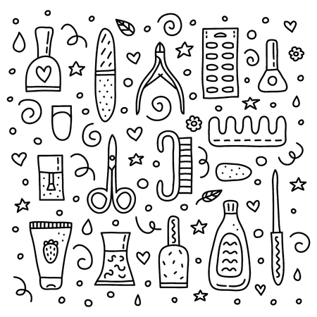 Set of different outline doodle icons for nail salon isolated on white background.