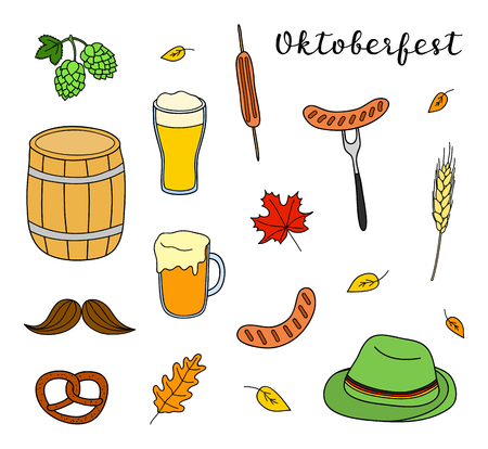Set of hand drawn colored Oktoberfest icons isolated on white background.