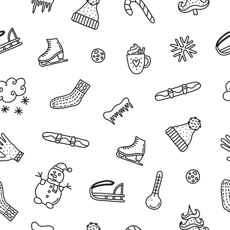 Black and white seamless pattern with cute doodle outline winter icons. Reklamní fotografie - 106932176