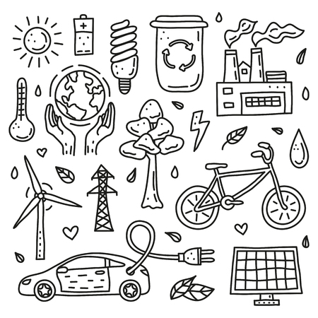 Set of doodle outline ecology and environment icons isolated on white background.