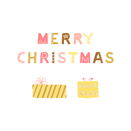 Poster with hand drawn colorful lettering Merry Christmas and gift boxes. Ilustrace