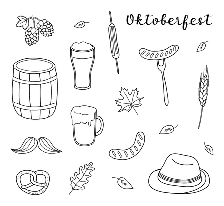 Set of hand drawn outline Oktoberfest icons isolated on white background.