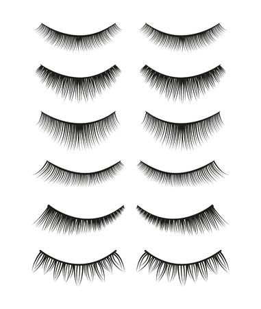 Set of false black female eyelashes isolated on white background. Ilustrace