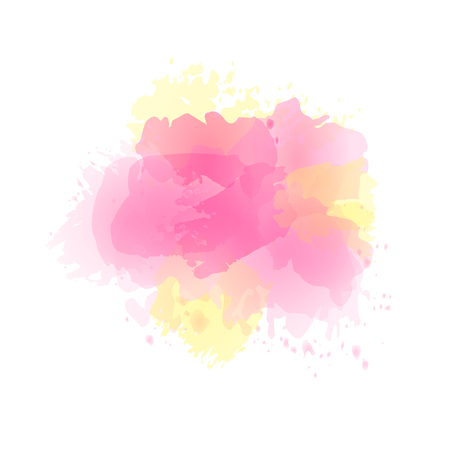 Vector watercolor splash in pink, yellow colors isolated on white background.