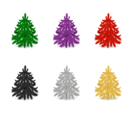 Set of colorful fir trees or pines without decor isolated on white background. Ilustrace