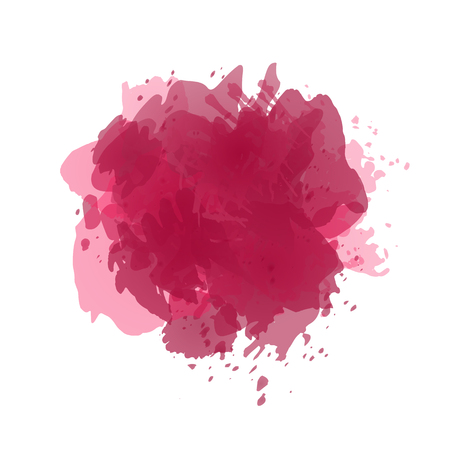 Vector watercolor splash in wine red, burgundy colors isolated on white background.