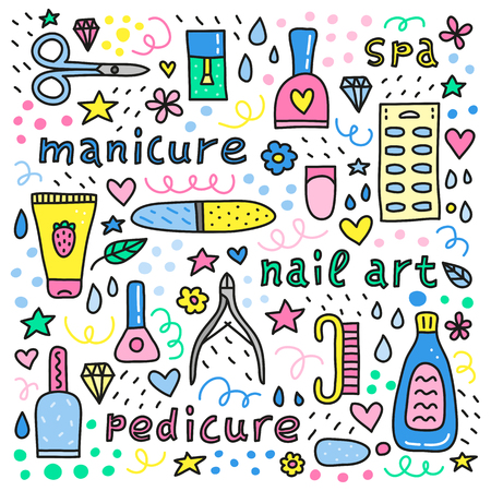 Poster with lettering and different colorful doodle icons for nail salon.