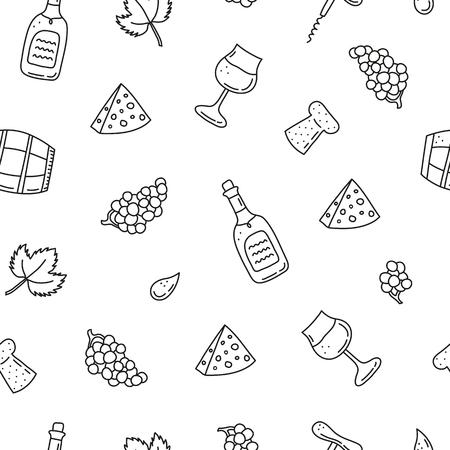 Seamless pattern with wine icons. Standard-Bild - 120431249