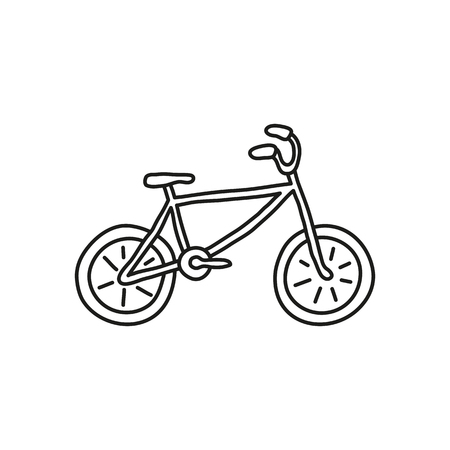 Doodle outline bicycle isolated on white background.