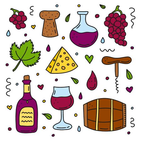 Set of doodle wine icons. Reklamní fotografie - 120431269