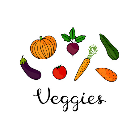 Composition with hand drawn colored veggies and lettering on white background.