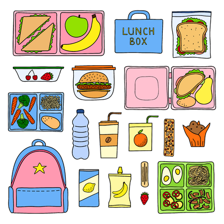 Set of hand drawn colored packed lunch boxes isolated on white background.