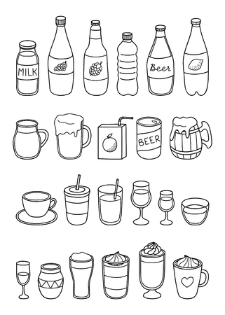 Set of different hand drawn outline liquid drinks isolated on white background. Ilustrace