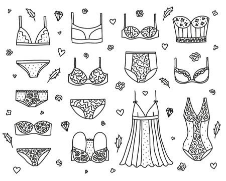 Set of women lingerie and nightwear. Illustration