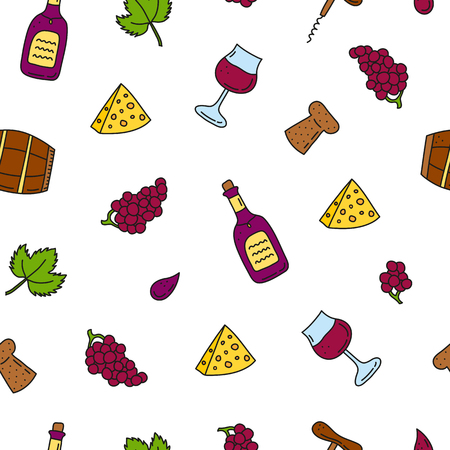 Seamless pattern with wine icons. Standard-Bild - 120431280