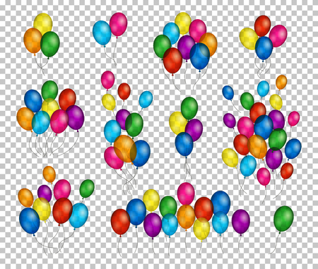 Bunches and groups of colorful helium balloons isolated on transparent background. Иллюстрация