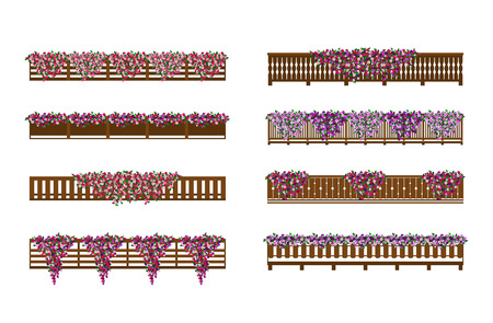 Wooden balconies decorated with bushes of petunia flowers for countryside houses cottages, and Alpine huts.