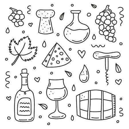 Set of doodle wine icons. Illustration