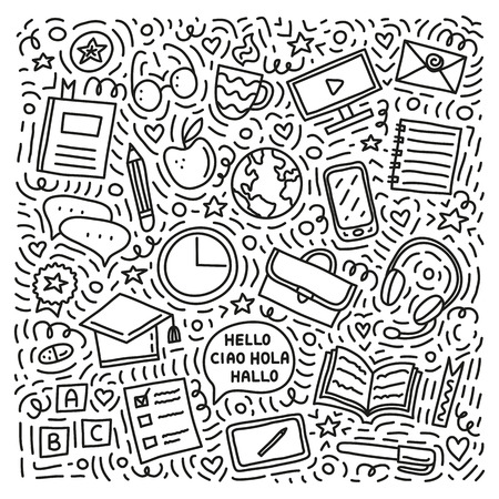 Set of doodle outline language courses icons with lines, symbols around isolated on white background.