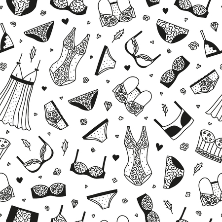 Seamless pattern with women lingerie and nightwear.