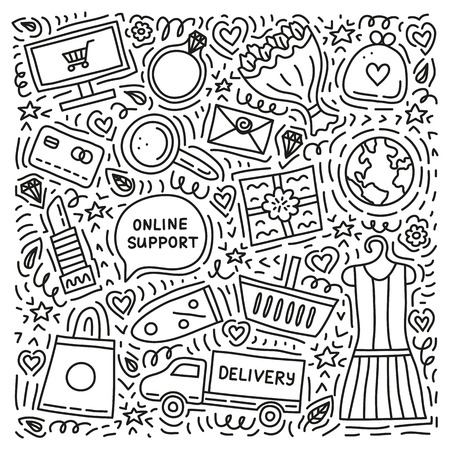 Set of outline e-commerce shopping doodles with elements isolated on white background.
