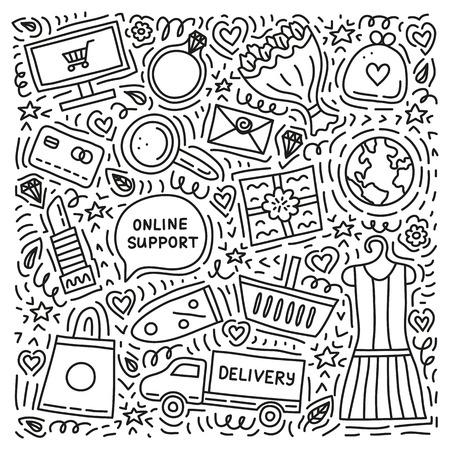 Set of e-commerce shopping doodles.