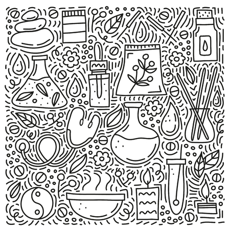 Doodle alternative medicine and ayurveda icons.