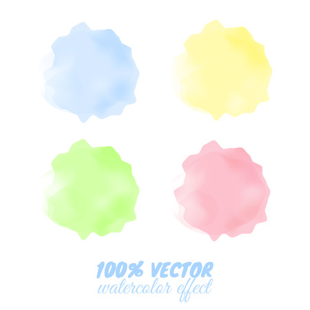 Colorful transparent spots with watercolor effect. Pink, yellow, green, blue blots. Watercolor simulation.