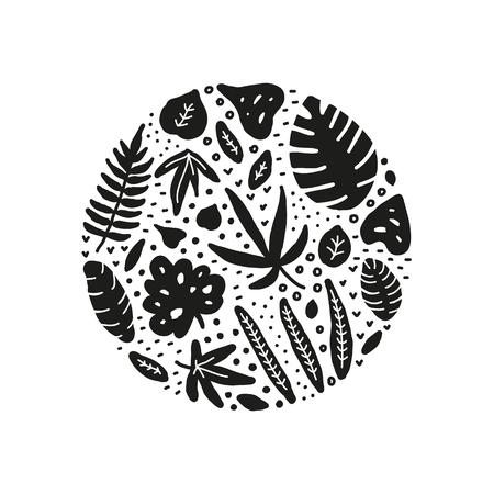 Doodle black jungle leaves composed in circle shape. Ilustrace