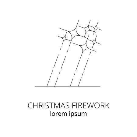 Firework linear icon isolated on white background. Ilustrace