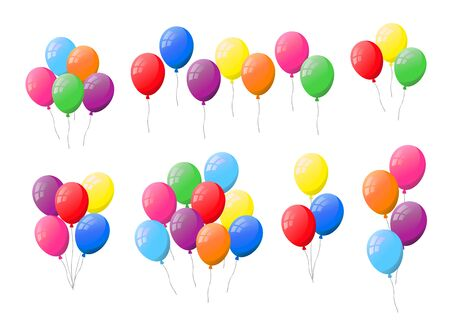 Bunches and groups of colorful flat helium balloons isolated on white background.