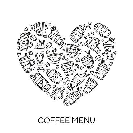 Doodle coffee drinks in heart shape.