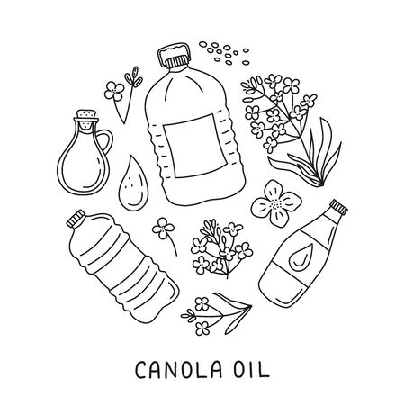 Doodle canola oil and flowers in circle.