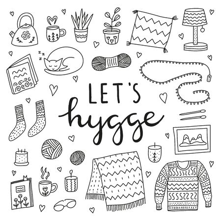Set of doodle outline hygge icons.