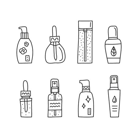 Set of doodle outline skincare serum, ampoule and essence bottles isolated on white background. 向量圖像