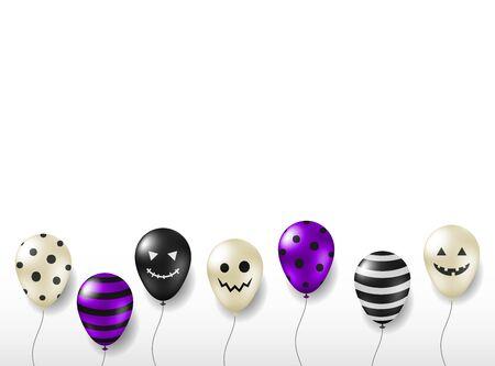 Scary helium balloons for Halloween celebration isolated on white background. 向量圖像