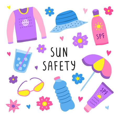 Set of colorful doodle sun safety icons isolated on white background.