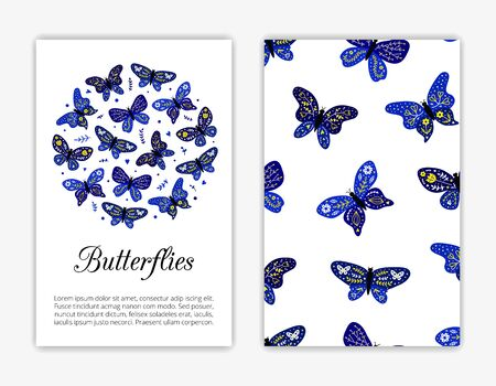 Card templates with decorative doodle butterflies in Scandinavian folk style. Used clipping mask.