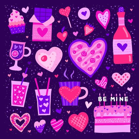 Set of colorful doodle heart shaped and cute food icons isolated on purple background. Perfect for Valentines day design.